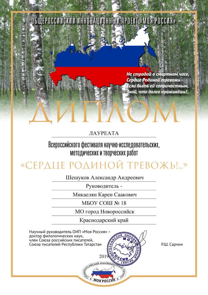 Диплом Фестиваля.Шешуков А.А.