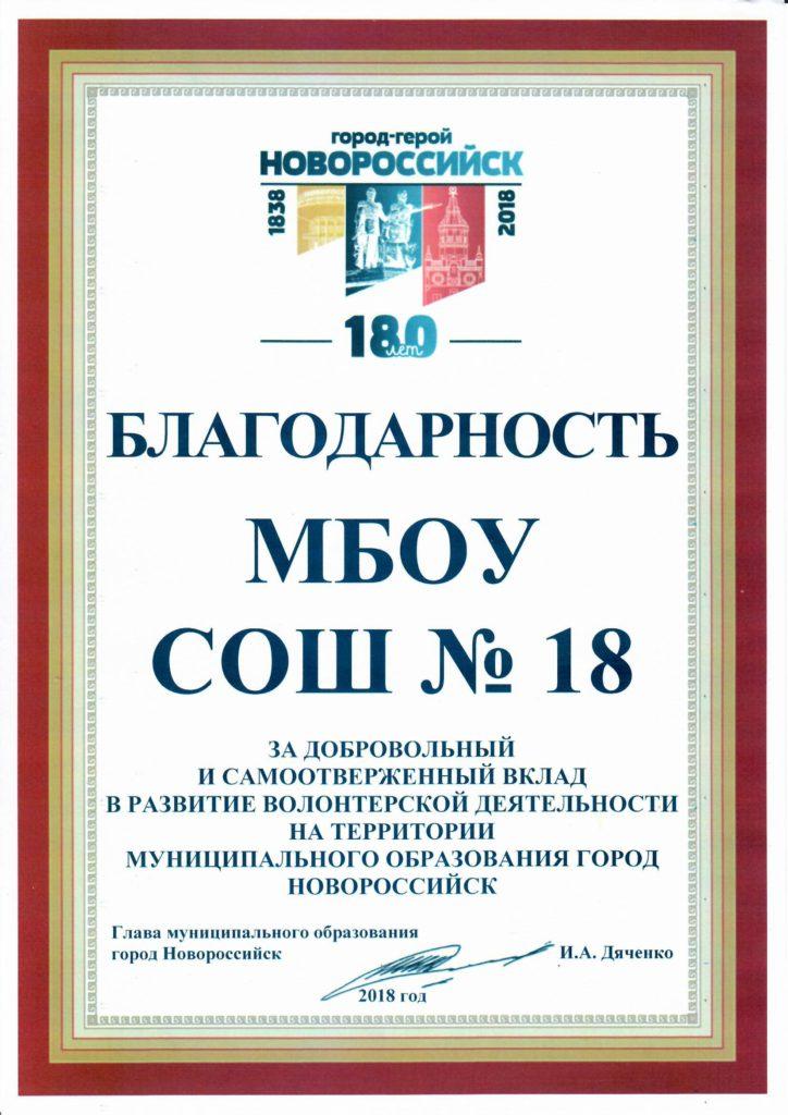 МБОУ СОШ №18.Волонтёры